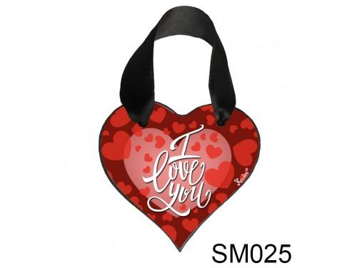 (SM025) Szív Akasztóval 9 cm x 9,5 cm - I love you – Szerelmes Ajándékok - Valentin napi ajándékok