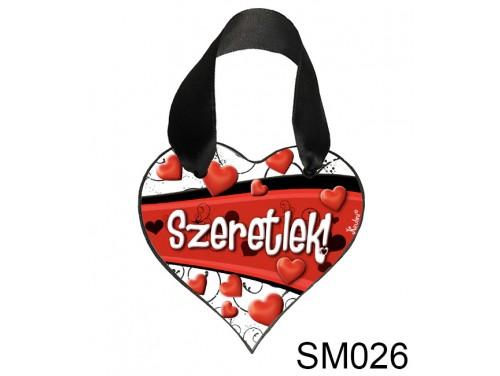 (SM026) Szív Akasztóval 9 cm x 9,5 cm - Szív hullám – Szerelmes Ajándékok - Valentin napi ajándékok