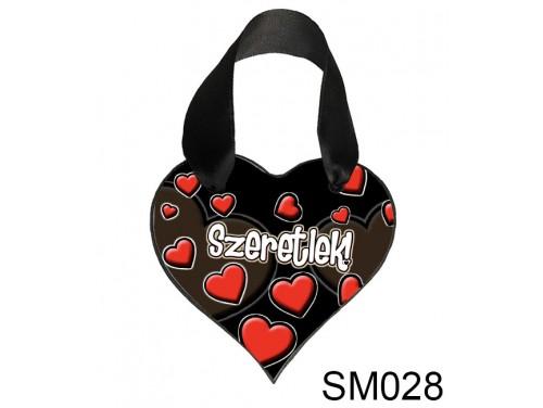 (SM028) Szív Akasztóval 9 cm x 9,5 cm - Fekete Szeretlek– Szerelmes Ajándékok - Valentin napi ajándékok