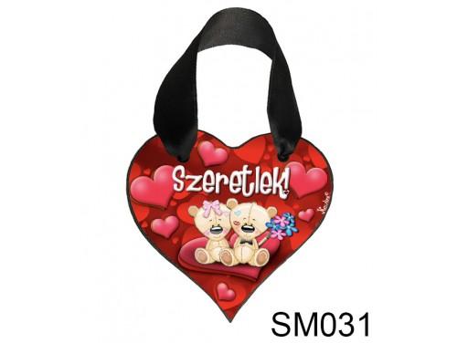 (SM031) Szív akasztóval 9 cm x 9,5 cm - Macikapár – Szerelmes Ajándékok