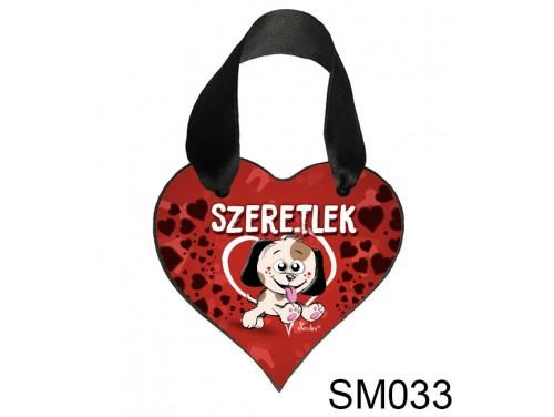 (SM033) Szív akasztóval 9 cm x 9,5 cm - Kutyusos szeretlek – Szerelmes Ajándékok