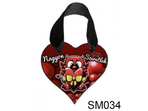 (SM034) Szív Akasztóval 9 cm x 9,5 cm - Nagyon szeretlek ördögös – Szerelmes Ajándékok - Valentin napi ajándékok