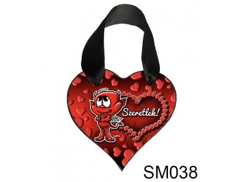 (SM038) Szív Akasztóval 9 cm x 9,5 cm - Szivecskés ördög – Szerelmes Ajándékok - Valentin napi ajándékok