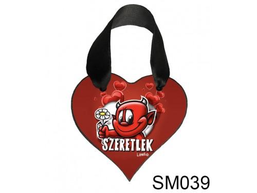 (SM039) Szív Akasztóval 9 cm x 9,5 cm - Virágos ördög – Szerelmes Ajándékok - Valentin napi ajándékok