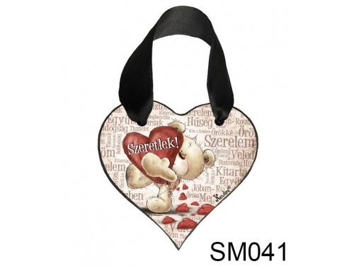 (SM041) Szív Akasztóval 9 cm x 9,5 cm - Szeretlek szavakkal – Szerelmes Ajándékok - Valentin napi ajándékok