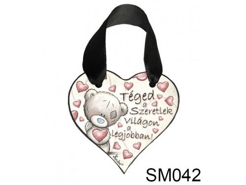 (SM042) Szív Akasztóval 9 cm x 9,5 cm - Téged szeretlek – Szerelmes Ajándékok - Valentin napi ajándékok