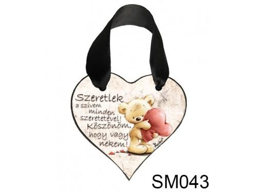 (SM043) Szív Akasztóval 9 cm x 9,5 cm - Szeretlek a szívem – Szerelmes Ajándékok - Valentin napi ajándékok