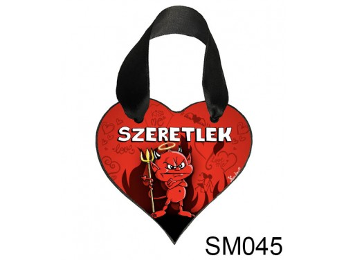 (SM045) Szív Akasztóval 9 cm x 9,5 cm - Szeretlek morcos ördög – Szerelmes Ajándékok - Valentin napi ajándékok