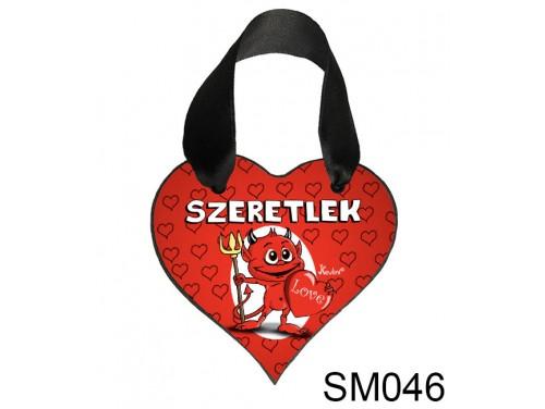 (SM046) Szív Akasztóval 9 cm x 9,5 cm - Szeretlek kedves örödög – Szerelmes Ajándékok - Valentin napi ajándékok
