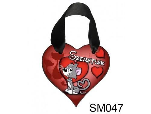 (SM047) Szív Akasztóval 9 cm x 9,5 cm - Szeretlek szürke cicus – Szerelmes Ajándékok - Valentin napi ajándékok