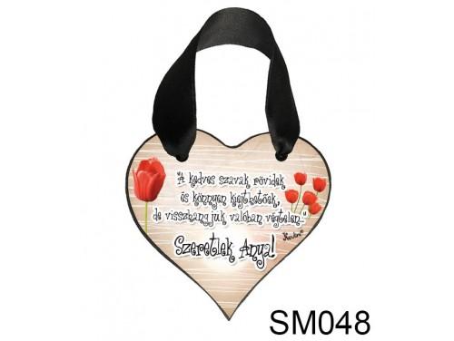 (SM048) Szív akasztóval 9 cm x 9,5 cm - A kedves szavak – Ajándék Anyukáknak – Anyák napi ajándék