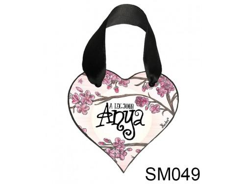 (SM049) Szív akasztóval 9 cm x 9,5 cm - A legjobb anya cseresznyefás – Ajándék Anyukáknak – Anyák napi ajándék