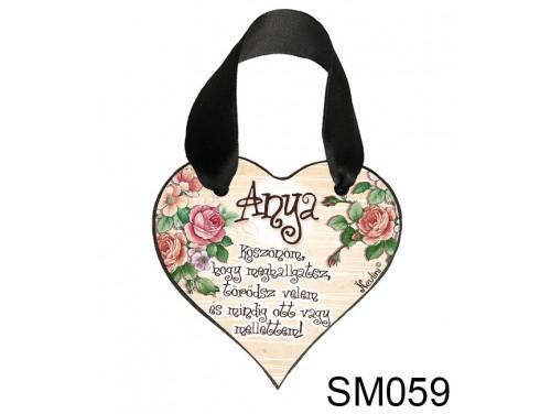 (SM059) Szív akasztóval 9 cm x 9,5 cm - Anya köszönöm – Ajándék Anyukáknak – Anyák napi ajándék