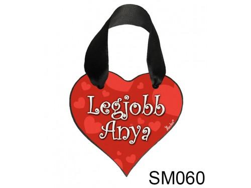(SM060) Szív akasztóval 9 cm x 9,5 cm - Legjobb anya – Ajándék Anyukáknak – Anyák napi ajándék
