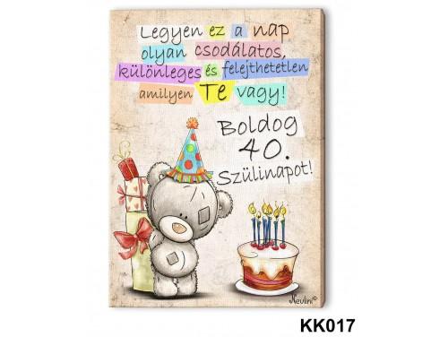 (KK017) Falikép 20 cm x 15 cm - Boldog 40. Születésnapot – 40. Szülinapi ajándék ötletek