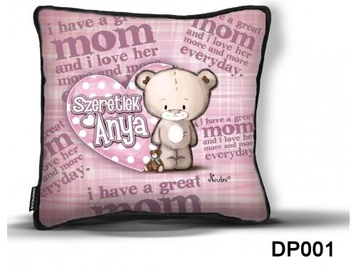 (DP001) Díszpárna 26 cm x 26 cm - Szeretlek Anya –  Ajándék Anyáknak