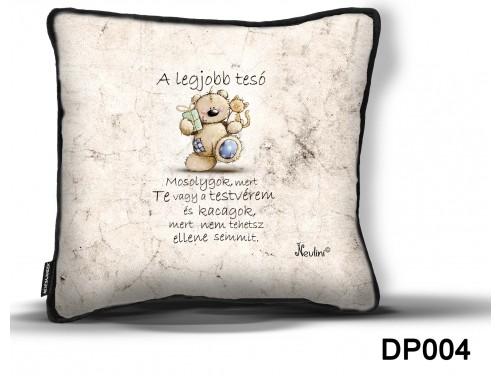 (DP004) Díszpárna 26 cm x 26 cm - A legjobb tesó – Ajándék Testvérnek