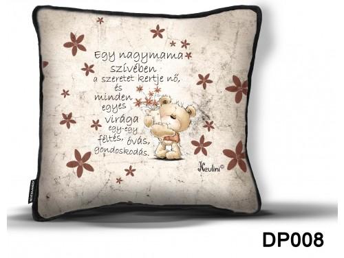 (DP008) Díszpárna 26 cm x 26 cm - Egy nagymama szívében – Ajándék Nagymamáknak