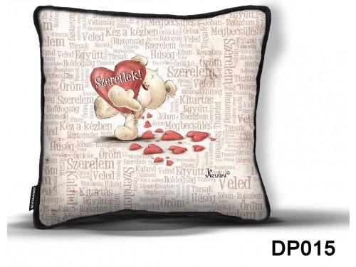 (DP015) Díszpárna 26 cm x 26 cm - Szeretlek szavakkal – Szerelmes ajándék