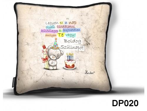 (DP020) Díszpárna 26 cm x 26 cm - Boldog Szülinapot macis – Születésnapi Ajándék