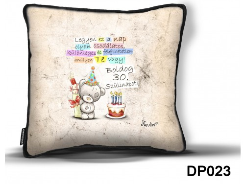 (DP023) Díszpárna 26 cm x 26 cm - Boldog Szülinapot 30 macis – Születésnapi Ajándék