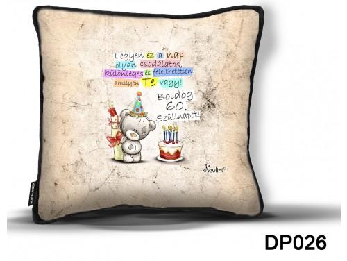 (DP026) Díszpárna 26 cm x 26 cm - Boldog Szülinapot 60 macis – Születésnapi Ajándék