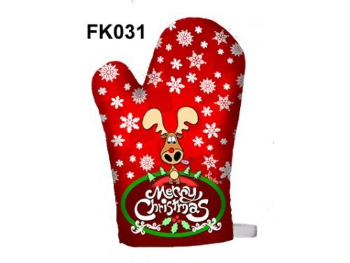 (FK031) Főzőkesztyű 16 cm x 26 cm - Merry Christmas szarvas – Karácsonyi ajándékok