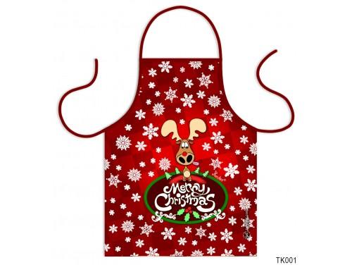 (TK001) Teli mintás kötény 50 cm x 70 cm - Merry Christmas – Karácsonyi ajándék