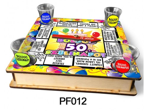 (PF012) Ivós társasjáték 18 cm x 18 cm - 50. Szülinapi Társasjáték – 50. Szülinapi Ajándékok