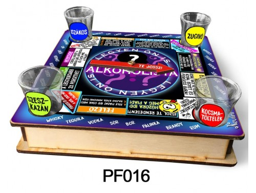 (PF016) Ivós társasjáték 18 cm x 18 cm - Legyen Ön is Alkoholista – Vicces Ajándékok