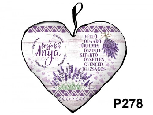 (P278) Kicsi Szív Párna  25 cm x 21 cm - Édesanya A legjobb – Ajándék Anyáknak - Anyák Napi Ajándékok