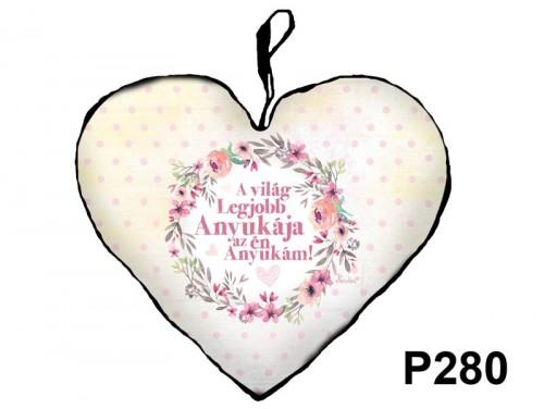 (P280) Kicsi Szív Párna  25 cm x 21 cm - A világ legjobb anyukája – Ajándék Anyáknak - Anyák Napi Ajándékok