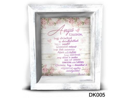 (DK005) 3D Képkeret 16,5 cm x 19,5 cm - Anya köszönöm – Ajándék Anyáknak