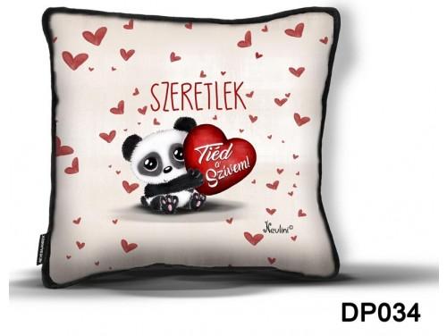 (DP034) Díszpárna 26 cm x 26 cm - Tiéd a szívem - Szerelmes ajándékok - Valentin napi ajándékok