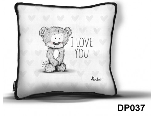 (DP037) Díszpárna 26 cm x 26 cm - I love you Nevlini - Szerelmes ajándék - Valentin napi ajándék