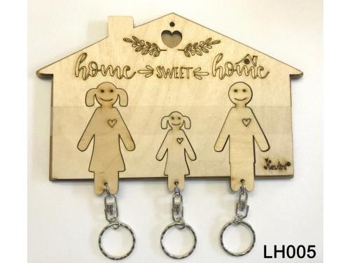 (LH005) Fa Házikós Fali Kulcstartó - Férfi + Nő + Kislány - Fali kulcstartó