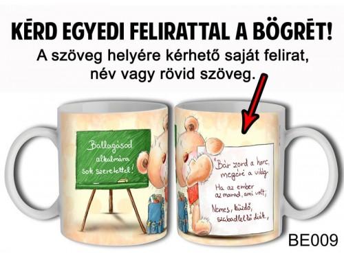 (BE009) Bögre 3 dl - Ballagásos Tablás Maci - Egyedi Feliratos Ballagási Ajándék