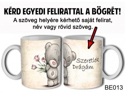 (BE013) Bögre 3 dl - Tulipános Maci - Egyedi Ajándék - Egyedi Feliratos Bögre