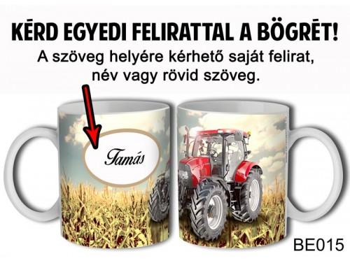 (BE015) Bögre 3 dl - Piros Traktor Egyedi feliratos - Egyedi Ajándék
