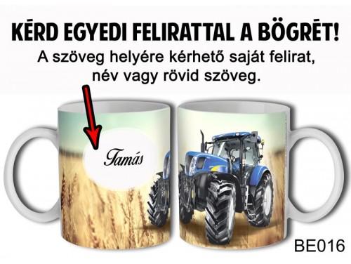 (BE016) Bögre 3 dl - Kék Traktor Egyedi feliratos - Egyedi Ajándék