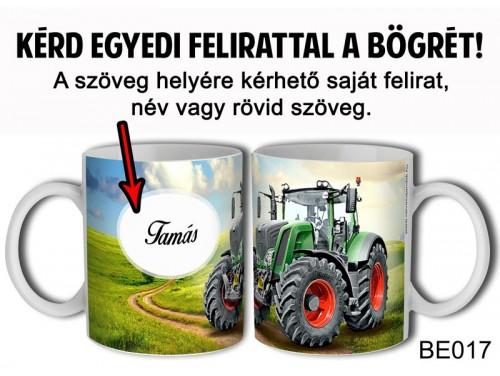 (BE017) Bögre 3 dl - Zöld Traktor Egyedi feliratos - Egyedi Ajándék