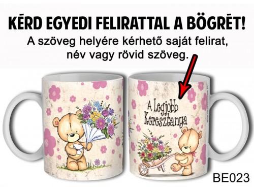 (BE023) Bögre 3 dl - Maci virágcsokorral - Egyedi Ajándék - Egyedi Feliratos Bögre