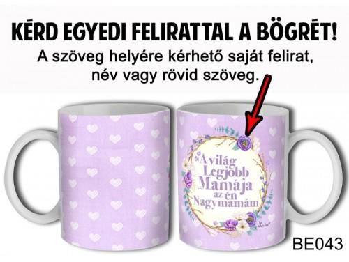 (BE043) Bögre 3 dl - Szivecskés lila háttér - Egyedi Ajándék - Egyedi Feliratos Bögre