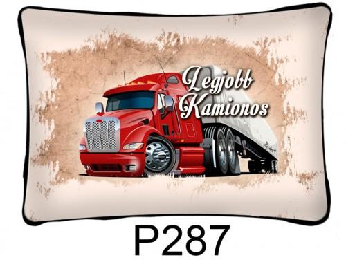 (P287) Párna 37 cm x 27 cm Legjobb kamionos – Kamionos párna – Ajándék Kamionosnak