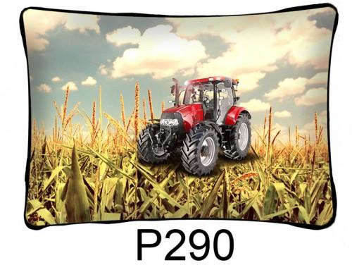 (P290) Párna 37 cm x 27 cm - Piros traktoros - Traktoros párna - Traktoros ajándékok