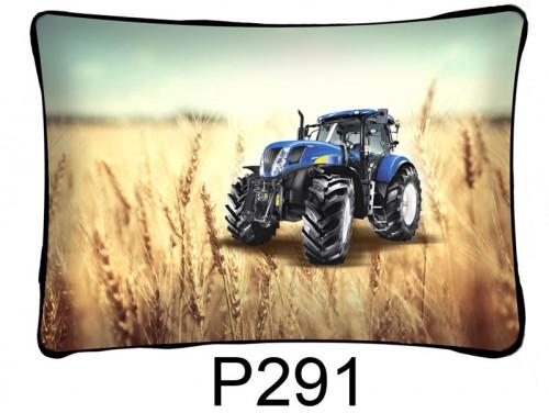 (P291) Párna 37 cm x 27 cm - Kék traktor - Traktoros párna - Traktoros ajándékok