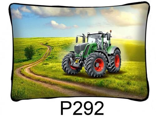 (P292) Párna 37 cm x 27 cm - Zöld traktor - Traktoros párna - Traktoros ajándékok