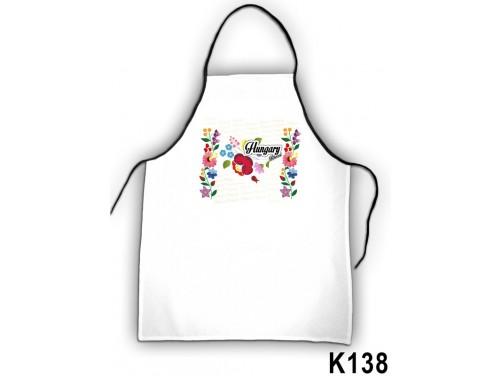 (K138) Kötény 50 cm x 70 cm - Hungary Kalocsai - Kalocsai mintás ajándékok
