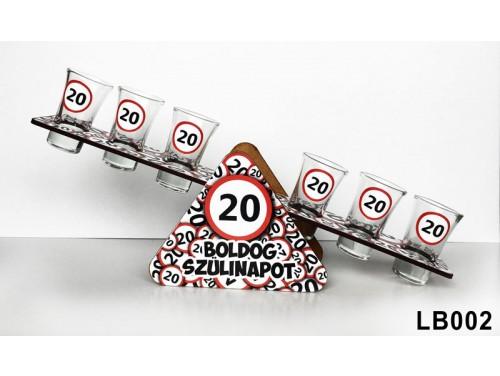 (LB002) Libikóka 30 cm x 9,5 cm - 20 Boldog Szülinapot - Szülinapi ajándékok - Ivós ajándék ötletek