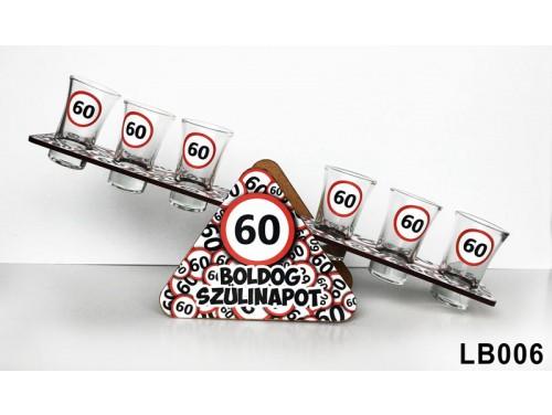 (LB006) Libikóka 30 cm x 9,5 cm - 60 Boldog Szülinapot - Szülinapi ajándékok - Ivós ajándék ötletek